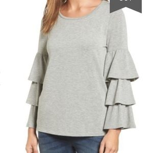 Pleione tiered bell sleeve gray knit top